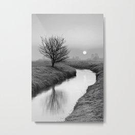 Misty Sunrise On The River Metal Print