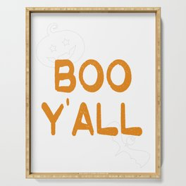 Boo Y'all Funny Halloween Southern Texas Design Ghost Print Serving Tray