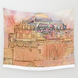 Rajasthan India Temple Sunrise Wall Tapestry
