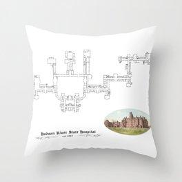 Hudson River State Hospital Blueprint Print Throw Pillow
