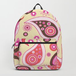 Oriental Persian Paisley, Flowers - Pink Backpack