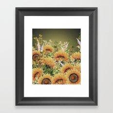 Vintage Garden 5 (Sunflower Field) Framed Art Print