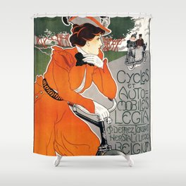 Vintage poster Cycles Legia - Georges Gaudy (new color rendition) Shower Curtain