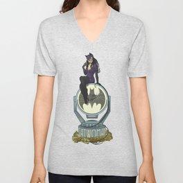 Catwoman in Art Nouveau Unisex V-Neck