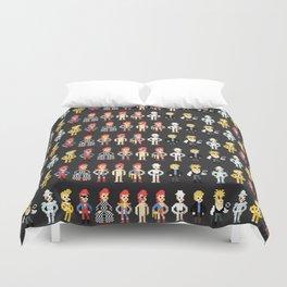 Bowie pixel characters Duvet Cover