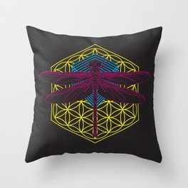 Dragonfly Flower of Life Throw Pillow