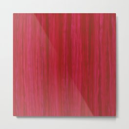 Strawberry Colored Vertical Stripes Metal Print