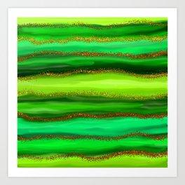 Green Watercolour Stripes Art Print