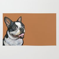 snoopy Area & Throw Rugs featuring Snoopy the Boston Terrier by Pawblo Picasso