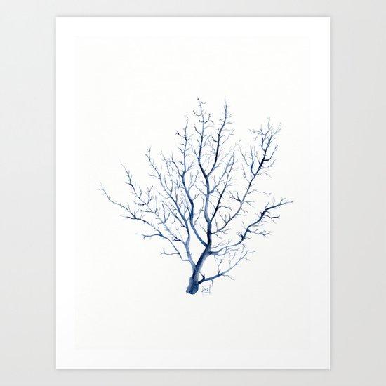 Black coral sea fan Art Print