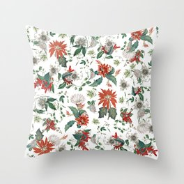 Festive Red Green Botanical Poinsettia Cactus Floral Pattern Throw Pillow