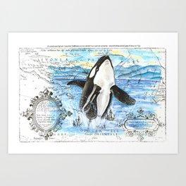 Breaching Orca Ancient Map Art Print