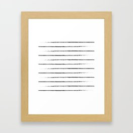 Minimal Simple White Background Black Lines Stripes Framed Art Print