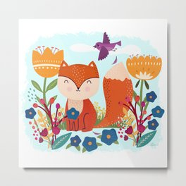 A Fox In The Flowers With A Flying Feathered Friend Metal Print