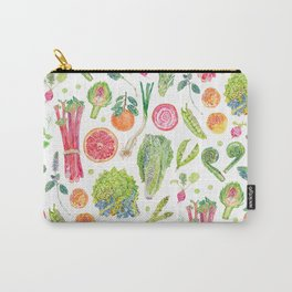 Spring Harvest Pattern White Carry-All Pouch