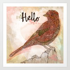 Hello Bird Art Print