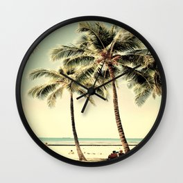 Retro Vintage Palm Tree with Hawaii Summer Sea Beach Wall Clock