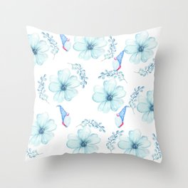 Renaissance Magic Gnome Blue Flowers Throw Pillow