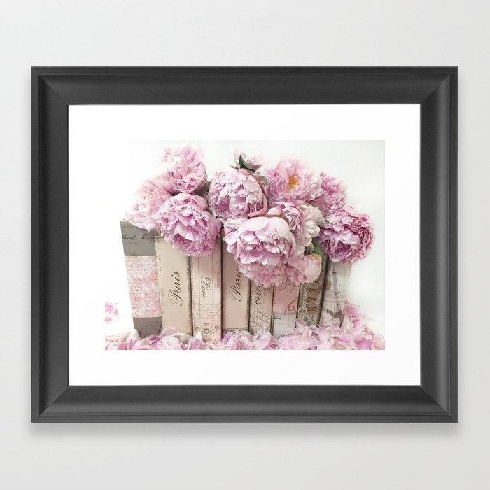 Shabby Chic Pink Peonies Paris Books Wall Art Print Home Decor