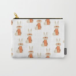 Cute funny hand drawn orange brown vector rabbit pattern Carry-All Pouch