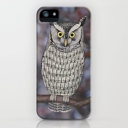 eastern screech owl on a branch iPhone Case