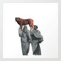 plato n aristotle walking their doge Art Print