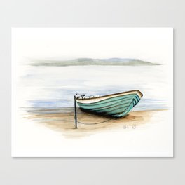 Rowboat, beach, marine, seashore boat Canvas Print