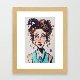 Fish-Eye Girl Framed Art Print