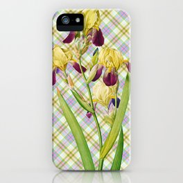 Iris, Iris Squalens, Iris sale, Brown flowered Iris, by Pierre Joseph Redoute, Plate 365 Tartan with Text 3 iPhone Case