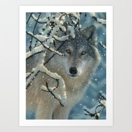 Wolf in Snow - Broken Silence Art Print