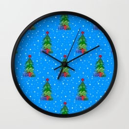 Whimsical Christmas Tree Pattern Wall Clock