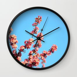 Pink flowers With Bee Wall Clock