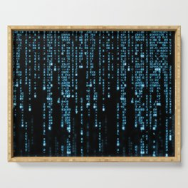 Matrix Binary Blue Code Serving Tray