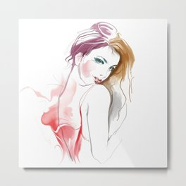 Watercolor Beautiful Girl V3 Metal Print