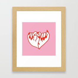 Best Friend Galentine's Day Pinky Promise Solo in Pink Framed Art Print