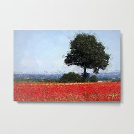Fields of Red Poppy, Normandy, France floral landscape painting wall decor Metal Print