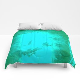 Teal Fractured Crystal Comforters