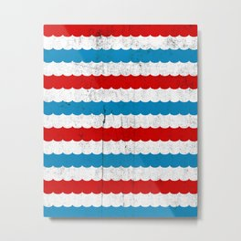 The Sailor - Vintage Nautical Striped Waves RWB Metal Print