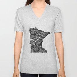Minnesota Tree Rings Unisex V-Neck