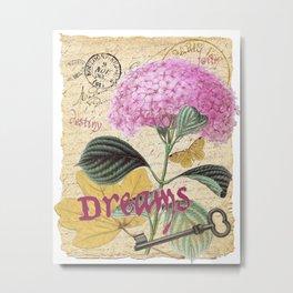 Pink Hydrangea & French Ephemera - Dreams Collage Art Metal Print