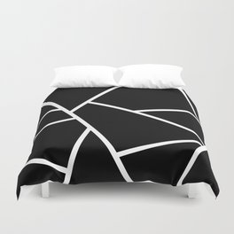 Black and White Fragments - Geometric Design II Duvet Cover