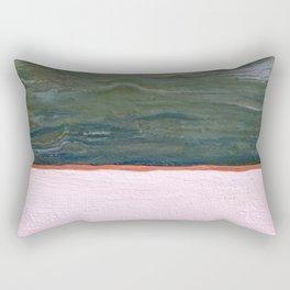 Northern Lights (green) Original Encaustic Painting Rectangular Pillow
