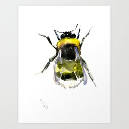Bumblebee, bee artwork, bee design minimalist honey making design Art Print