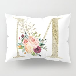 M Monogram Gold Foil Initial with Watercolor Flowers Pillow Sham