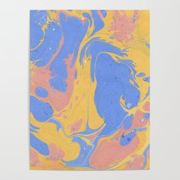 Yellow & blue paint Poster