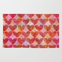 hearts Area & Throw Rugs featuring Hearts by LebensARTdesign