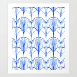 Art Deco Blue #pattern #illustration Art Print