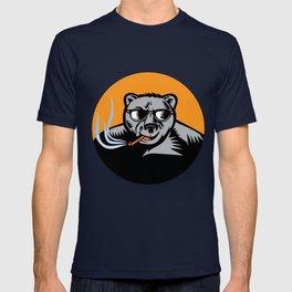 Black Bear Sunglasses Cigar Circle Woodcut T-shirt