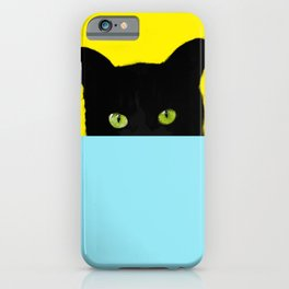 Black Hidden Cat Yellow iPhone Case