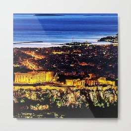 Acropolis ruins at twilight; Athens, Greece Metal Print